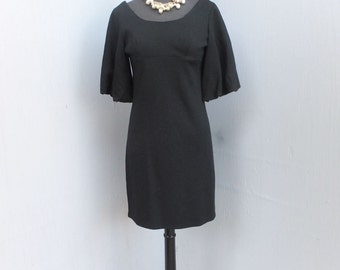 Vintage 1960s/70s  Black Dress, Empire Style, Shift, Little Black Dress, valley of the Dolls, Metal Zipper, Small