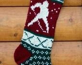 Hand Knit Christmas Stocking Hockey Player - Handmade & Ready to Ship