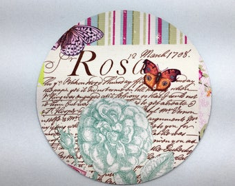 Buy 2 FREE SHIPPING Special!!   Mouse Pad, Computer Mouse Pad, Fabric Mousepad    French Journal Bell Rose Pink