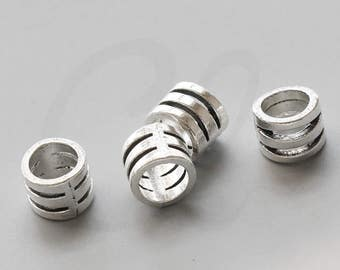 20 Pieces Oxidized Silver Tone Base Metal Spacers-10x9mm with 7mm hole (2495X-F-197A)