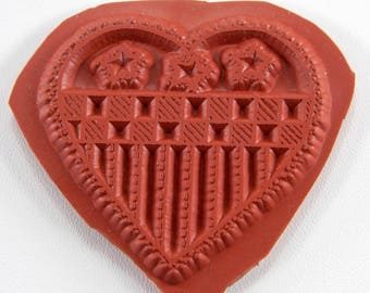 Patriotic Heart Rubber Stamp Unmounted  1 3/4 x 1 3/4 Inches