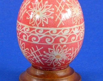 Polish Pysanky Egg Hand Painted Decorated Vintage Easter Blown Out Chicken Egg 20484