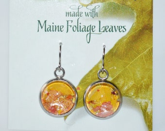 Seasons of Maine Fall Collection: Maine Foliage Leaves Earrings made with real leaves-Made in Maine Jewelry-Maine nature inspired jewelry