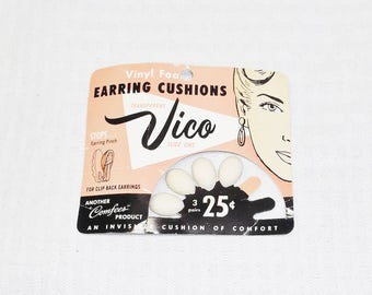 1950s Vintage Earring Cushions for Wide Clip On Earrings in Original Package