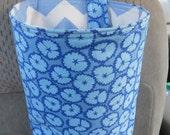 Trash Bin, Car Trash Bag, Cute Car Accessories, Headrest Bag, Trash Container, Light Blue and Navy Flowers