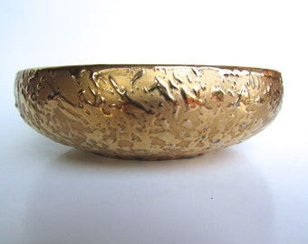 Italian Modern Golden Bowl Made in Mid Century Italy, Highly Textured-Heavy Gold Exterior w/ White Interior, Vintage Italian Pottery