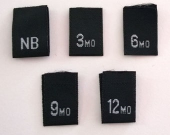 Mixed Infant Woven Black Clothing Size Tags Labels NB, 3mo, 6mo, 9mo and 12mo Qty 50