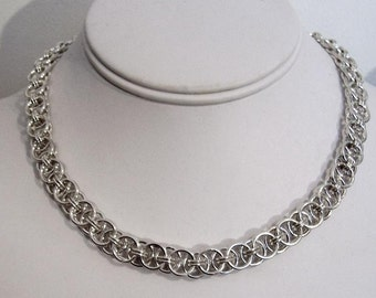 """Handcrafted Sterling Silver Chain Necklace, 17.5"""" Helm Design"""