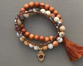 amazonite brown stack mala bracelets with hamsa and tassel, bracelet set, yoga jewelry, yoga bracelet, tassel bracelet, hamsa bracelet,