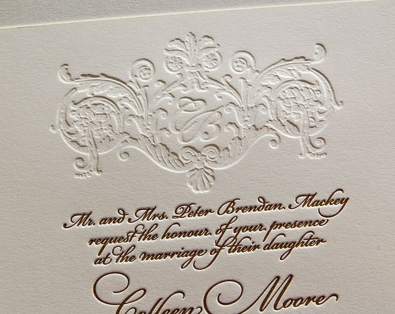 Letterpress Wedding Invitation Suite, Monogram, Classic Wedding, Calligraphic, Gold, Invitation Suite, Modern, Elegant Wedding, Sample