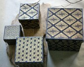 Vintage Japanese Nesting Boxes in Black and Gold for Gift Giving or Display made of Heavy Cardstock and Paper