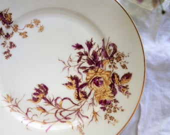 Vintage Haviland Limoges Floral Plate Easter Dinner Table Dessert Serving Platter Delicate Flower Design White and Dark Pink and Mustard