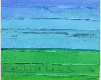 Abstract landscape oil painting, abstract landscape, horizontal lines, horizon line painting, sky painting