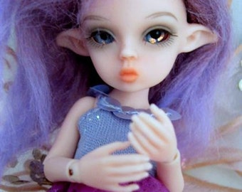 "Tickle Pink Fairy OOAK Tiny 5 1/2"" Nabiyette BJD dollhouse elf fur wig doll FREESHIP"