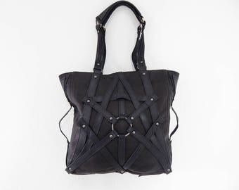 RAGE CAGE Black Leather Tote Bag