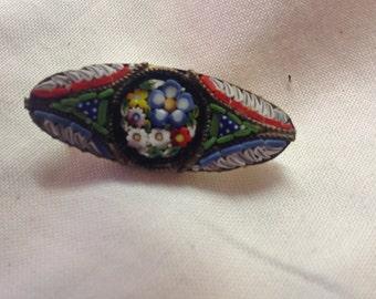 Beautiful millefiori Mosaic glass pin