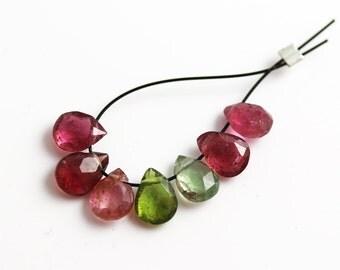 Small Tourmaline Beads - Green Pink - Tourmaline Beads - Pear Briolettes