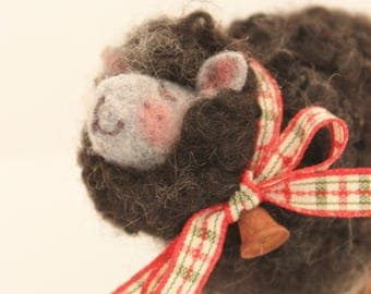 Black Fuzzy Needle Felted Black Sheep #2535