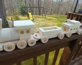 Wooden Train Set Large  (3 car) Handmade toy Pine Heirloom Quality all natural no finish Will personalize