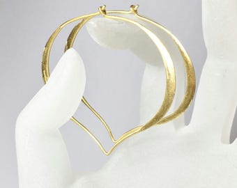 Extra Large 14K Solid Gold Hoops, Lotus Ear Wires, Fine Jewelry