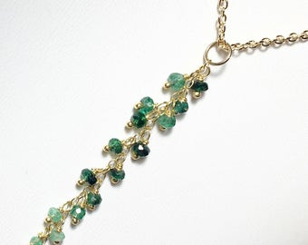 Emerald Tassel Necklace, Gemstone Pendant in Gold Fill, Gifts for Her