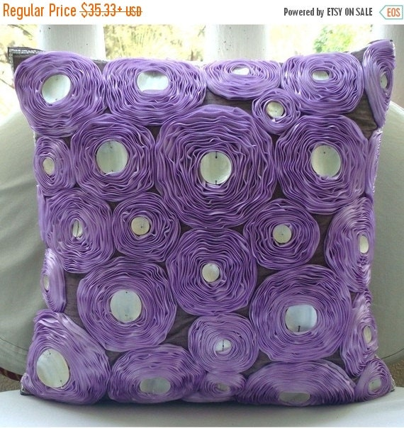 """15% HOLIDAY SALE Handmade Purple Pillow Covers, 16""""x16"""" Silk Pillow Covers, Square  Ribbon Lavender Rose Flower Floral Theme Pillows Cover -"""