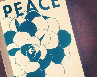 Peace & Succulents Hand Printed Holiday Greeting Card, Limited Edition - Set of 3