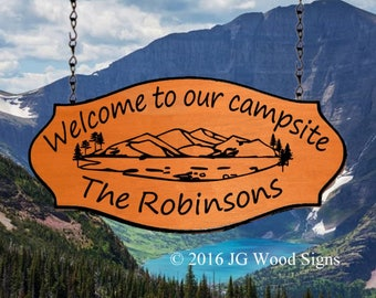 Custom RV Sign Oval Mountain Pine Graphic - Camping Name Sign JG Wood Signs Etsy Campsite Name Sign Robinson