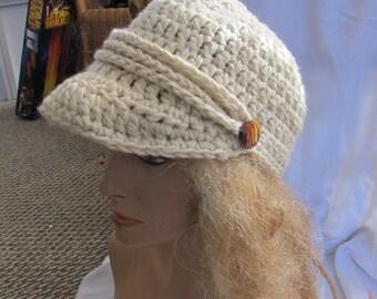 Beige Chunky Brimmed Beanie, Newsboy Hat, Unisex Hat, Brimmed Hat, Trucker Hat