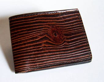 "Men's Leather Wallet - Wood Grain Wallet - Thin Bi-fold with Woodgrain Design - ""B"" Style Interior"