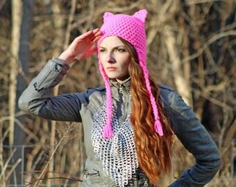 This Pussy Grabs Back! Cat Kitten Hat Hot Pink Fox Ear EarFlap Hat Women's March on Washington.
