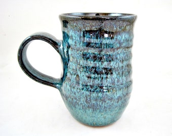 Pottery mug, coffee mug, teal blue mug, 18 oz mug - In stock MTB 7