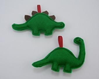 Dinosaur Ornaments Set of 2 Stegosaurus and Brontosaurus // Perfect Secret Santa Gift or Stocking Stuffer