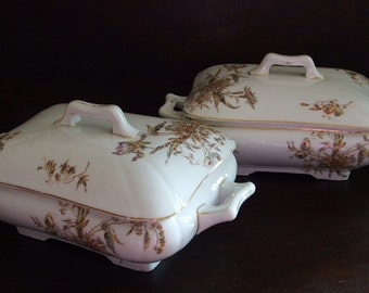 2 Antique Ironstone Tureens, Brown Transferware Gilded, Hand Decorated Flowers, Matched Set, covered casserole dining formal late 1800s