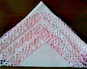 Hankie Pink Crochet Lace all around trim linen center mid century vintage moms baby girl gift