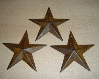 Primitive Tin Rusty Rust Barn Star Craft Supply Set/3 Scrapbooking 3 1/2 Inch