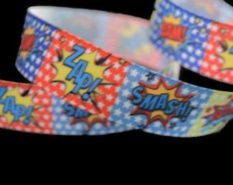 Super hero Ribbon, Comic Book Ribbon, Comic Book Captions, Dog Collar Supplies, Geek Ribbon, Cosplay Ribbon, Super hero Party