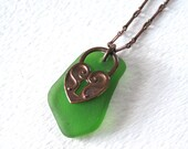 Bright Peridot Green Sea Glass and Copper Heart Locket Necklace on Oxidized Copper Chain