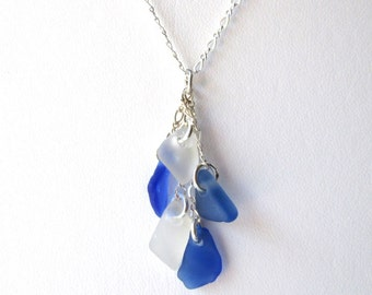"""Sterling Silver Cascade Genuine Sea Glass Necklace on Adjustable 18"""" Chain"""