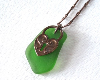 Bright Peridot Green Sea Glass and Copper Heart Locket Necklace on Oxidized Copper Chain