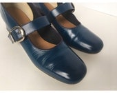 60's Vtg Navy Mary Jane Dancing Shoes 7
