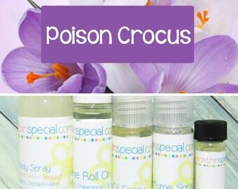 Poison Crocus Perfume, Perfume Spray, Body Spray, Perfume Roll On, Perfume Sample Oil, Dry Oil Spray, 5 Different Product Choices