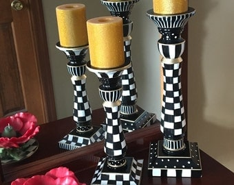 Whimsical painted candleholders, pillar candle holders, set of 2 candle holders