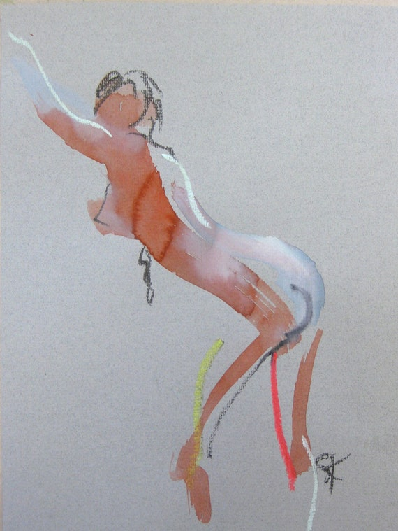 Nude painting of One minute pose 105.3 - Original nude painting by Gretchen Kelly