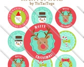 Merry Christmas Let It Snow Sayings Retro Bottle Cap Images 1 Inch Circles Digital JPG - Instant Download - BC566