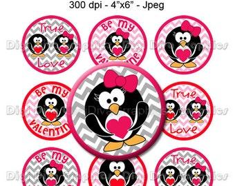 Valentine's Day Penguin Bottle Cap Images, 1 Inch Circles Digital JPG - Instant Download - BC1136