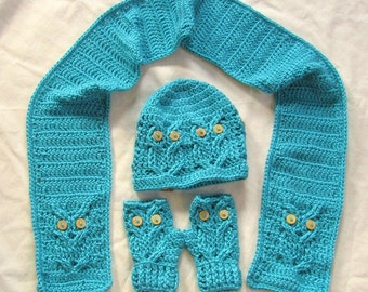 Crochet Owl Hat,Gloves and Scarf set - Gifts for Mom - Crochet Owl Gift Set - Crochet Owl - Owl Fingerless Gloves - Gift for Her - handmade