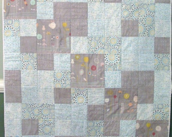 Gray and Aqua Baby Quilt with a Hint of Yellow
