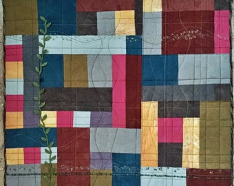 Color Play II Handmade Fiber Art Quilt Wall Hanging