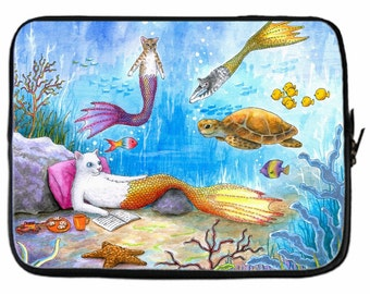 Laptop Computer Tablet sleeve Neoprene Made in USA 8, 10, 13, 15, 17 inch Cat Mermaid 31 turtle ocean sea L.Dumas
